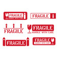fragile this way up handle with care box signs vector image vector image