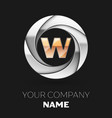 golden letter w logo symbol in the circle shape vector image