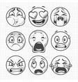 hand drawn dissatisfied sad faces smiles vector image vector image