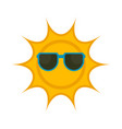 isolated sun with sunglasses icon vector image vector image