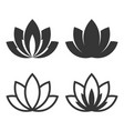 lotus icon set on white background vector image vector image