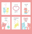 love cats greeting cards vector image