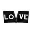 love on zipper banner vector image vector image