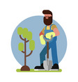 man finished planting the tree vector image
