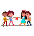 multi-ethnic boys and girls pull the rope in team vector image vector image