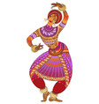 one indian woman dancer dancing in silhouette vector image vector image