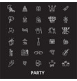 party editable line icons set on black vector image
