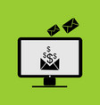 payment email from online business in monitor pc vector image vector image