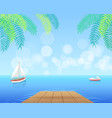 sail boat with white canvas sailing in deep waters vector image vector image