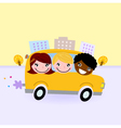School bus with kids driving through town vector image vector image
