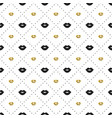 seamless pattern with black and gold lips kiss vector image