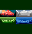 set cartoon mountain landscape in flat style vector image vector image