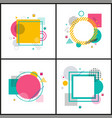 set colorful abstract frames on vector image