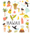 set colorful symbols landmarks hawaii vector image