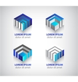 set of abstract colorful geometric cube 3d icons vector image vector image