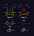 set of merry christmas neon lights vector image