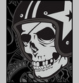 skull with helmet cafe racer vector image