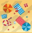 summer beach umbrella towels sunglasses starfish vector image