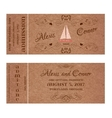 Ticket for Wedding Invitation with wedding sailing vector image