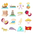 Vietnam icons set cartoon style vector image vector image