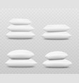 white pillow stack set from side view three or vector image vector image
