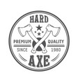 lumberjack axes round logo template vector image