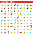 100 rich icons set isometric 3d style vector image vector image