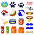 20 colorful cartoon pet shop elements set vector image vector image