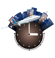 Airplane flying around the clock vector image vector image