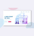 app for tourists landing page template happy vector image vector image