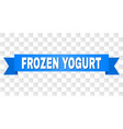 blue ribbon with frozen yogurt caption vector image
