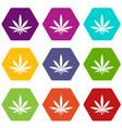 cannabis leaf icon set color hexahedron vector image vector image
