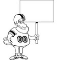 cartoon football player holding a sign vector image vector image