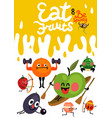 cartoon funny fruits poster vector image