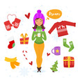 cartoon style set of holiday items vector image vector image