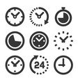 clock icons set on white background vector image vector image