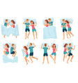 couple sleeps in different poses man and woman vector image