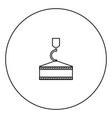 crane hook black icon in circle outline vector image