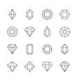 diamond icon jewels outline symbols gems stones vector image