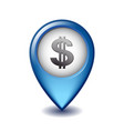 dollar symbol with two vertical lines on mapping vector image vector image