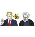 donald trump and hassan rouhani cartoon vector image vector image