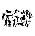 fitness gym and weightlifting silhouettes vector image vector image