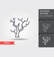 halloween tree line icon with editable stroke vector image