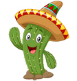 Happy cactus waving hand on white background vector image vector image