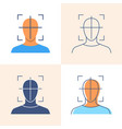 head movement tracking icon set in flat and line vector image