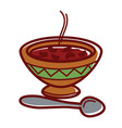 hot bean soup in clay bowl with ornament vector image vector image