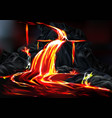 hot lava flow during volcanic activity vector image