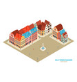 isometric old town composition vector image vector image