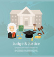 judge man in judicial robe and wig justice and vector image vector image