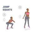 jump squats home workout black girl exercise vector image
